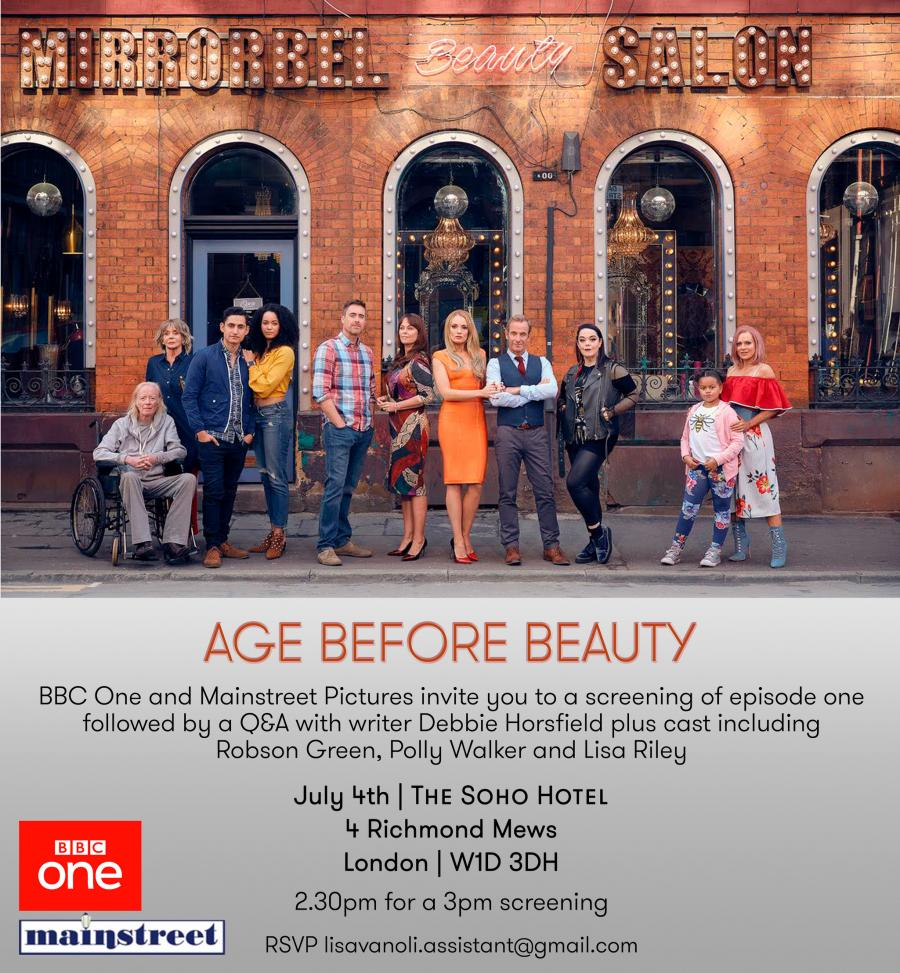 The press launch invitation for BBC drama Age Before Beauty at the Soho Hotel