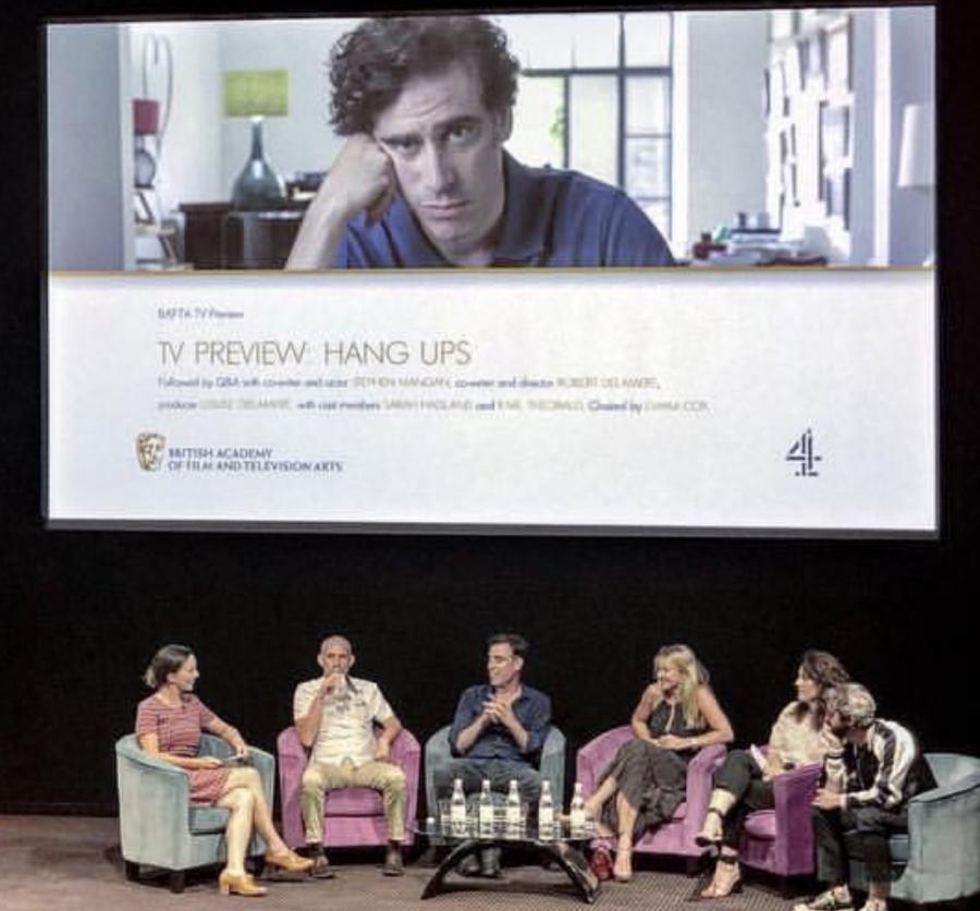 Emma Cox hosting the BAFTA Q&A at the launch of Channel 4 drama Hang Ups starring Stephen Mangan and Sarah Hadland