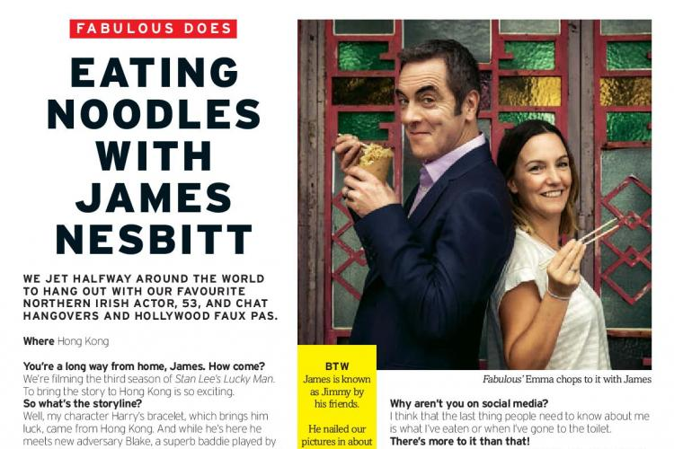 An interview in Fabulous magazine with Lucky Man actor James Nesbitt