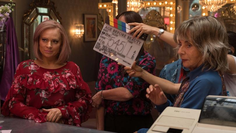 A behind the scenes picture from the set of BBC drama Age Before Beauty starring Sue Johnston and Vicky Myers