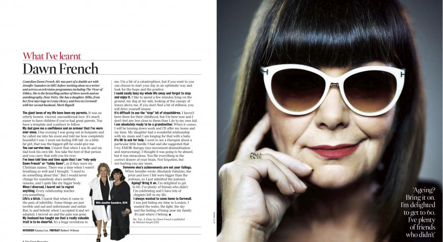 Dawn French in a magazine