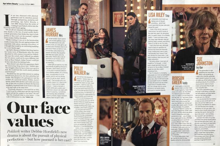 A Radio Times feature about BBC drama Age Before Beauty, starring Lisa Riley, Robson Green, Sue Johnston, Polly Walker, Vicky Myers, Kelly Harrison and written by Debbie Horsfield